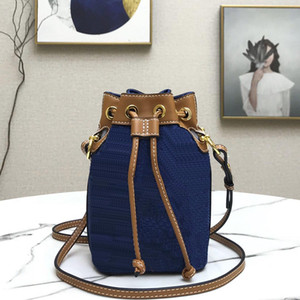 Ladies bags mini pochette accessoires drawstring colorful fi letter embossing printing denim canvas leather bucket bag Fashion Shoulder Bags