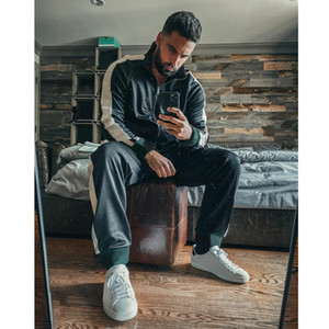 Wholesale string zip for sale - Group buy Made In Italy Mens Active Tracksuits Fashion Letters String Jacket Sweatpants Casual Zipper Two Pieces Outfits for Boy Hiphop Streetwear