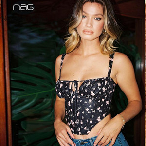 NewAsia Black Floral Corset Women Summer Sexy Backless Boned Lace Up Crop Top Party Casual Wear Prairie Chic Print Tops 2020 New