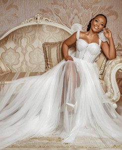 Wholesale big wedding dresses resale online - Vintage Wedding Dresses A line Wedding Dress Africa Bridal Gowns Backless Plus Size Big Bow Straps Ivory Tulle Buttons Custom Made