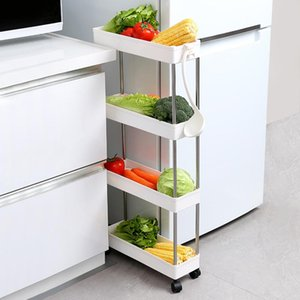 Wholesale mobile shelving resale online - 2 Tier Slide Out Storage Cart Mobile Shelving Unit Rolling Bathroom Carts with Handle for Kitchen Laundry Room Narrow Places