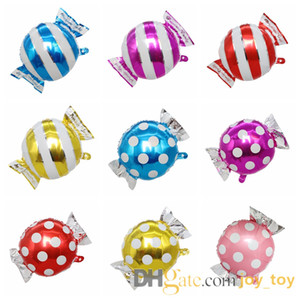 Mix 50pcs lot 18 inch Sweet Candy Balloons Round Lollipop Balloon aluminum foil Birthday Party Balloons for kids decoration