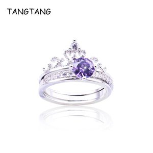 Wholesale purple crown rings for sale - Group buy White Gold Color Purple CZ Crystal Crown Shaped Rings Classic Wedding Bands Luxury Jewelry For Bride Women Item WR10448K