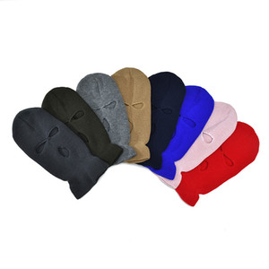 Wholesale crochet winter ear warmer resale online - 15 Colors Three Holes Full Face Cover Mask Knitted Beanie Solid Winter Warm Ski Masks Hat Windproof Face Shield Crochet Cap Ear Muff M2903