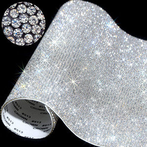 klebewagenaufkleber großhandel-20 cm über Self Adhesive Rhinestone Aufkleber Blatt Kristallband mit Gum Diamanten Sticks für DIY Dekoration Autos Phone Cases Cups RRA3704