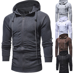 Hot Sale 2020ebay Autumn and Winter New Mens Casual Slim-Fit Zipper Hooded Sweater