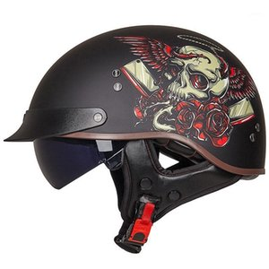 Wholesale half scooter open face motorcycle for sale - Group buy Retro Vintage Motorcycle Helmet Moto Half Helmet Open Face Scooter Biker Motorbike Riding for Men Women1