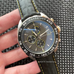 Wholesale mens yellow faced watches for sale - Group buy 2021 NEW Orologio di lusso men watch High quality steel case Metal Grey face Luxusuhr watches Quartz chronograph movement Mens Sport Watches