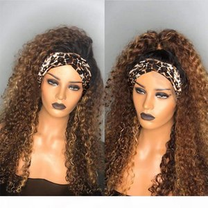 Wholesale chic wigs for sale - Group buy Ombre Headband Wig Jerry Curly Human Hair Wig B j No Glue Brazilian Hair Wigs Blonde Remy Mstoxic Chic Scarf Headband Wig