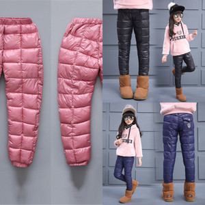 Wholesale snow pants kids for sale - Group buy Winter Children Pants Down Cotton Teenage Boys Girls Warm Skinny Leggings Kids Clothing Windproof Waterproof Snow Trousers J1221
