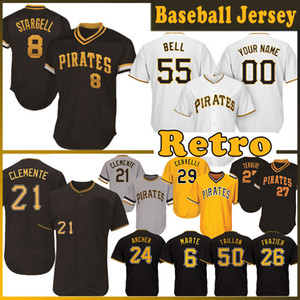 camisetas de béisbol de base fresca al por mayor-8 Willie Stargell Baseball Jersey Roberto Clemente Kent Tekulve Francisco Cervelli Starling Marte Jerseys Cool Base