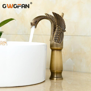 Wholesale swan taps mixers resale online - Antique Brass New Swan Design Basin Faucet Retro Bathroom Single Handle High Arch Luxury Faucets Mixer Water Tap SE