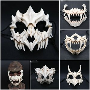 Wholesale animal skull masks resale online - New Halloween Cosplay Resin Dragon God Yasha D Horror Theme Party Animal Skull Face Masquerade Scary Mask Y200103