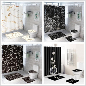 Wholesale curtains bathrooms for sale - Group buy Creative Marble Printing Bathroom Waterproof Shower Curtain Pedestal Rug Lid Carpet Toilet Cover set Bath Curtain Mat Set