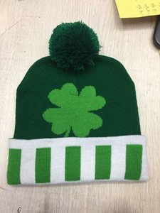 Wholesale tall grasses for sale - Group buy Green Irish Festival German four leaf grass warm knitted hat