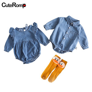 Wholesale twins babies boy girl resale online - Fashion Twins clothes Denim rompers baby girl romper ruffle onesie fly sleeve baby girl clothes boy romper blue bebek tulum J1221