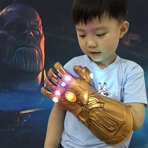 Wholesale thanos mask kids resale online - The Endgame Thanos Led Infinity Gauntlet Cosplay Costumes Mask Infinity Stone War Led Gauntlet Glove Kids Size Gift ck53