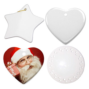 New Sublimation Blanks Christmas Decoration Ceramic Pendant for Sublimation INk Transfer Printing Heat Press DIY OOA9694
