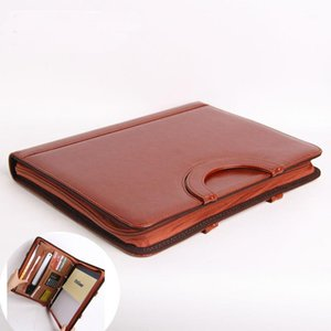 Wholesale a4 folder zipper resale online - A4 zipper leather manager document bag file folder holder agreement business spiral binder conference organizer with handle A1
