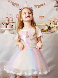 Wholesale kids cartoon shirts for sale - Group buy Girls unicorn outfits summer kids cartoon sequins short sleeve T shirt colorful sequins tulle tutu skirts kids princess sets A5482