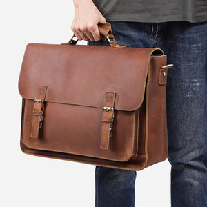 Wholesale men brief cases resale online - Cow Leather Bag Men Bag Leather Luxury Messenger Case Bags For Laptop Business Briefcase Inch Vintage Real Designer Brief Men Dxtlt