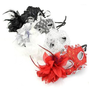 Wholesale red black white men masquerade mask resale online - Sexy Lady Black White Silver Red Lace Leather Eye Mask Half face Mystery Man Mask Masquerade Masquerade Carnival Props1