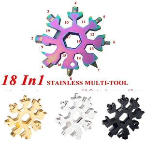 18 in 1 Stainless Steel Multi-Tool Snowflake Multitool Hexagon Screwdriver Wrench Bottle Opener Key Chain Ring Outdoor Survive Camp E102902