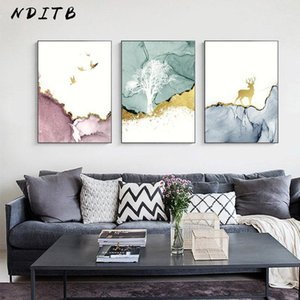 Wholesale texture art painting resale online - Marble Texture Deer Tree Poster Nordic Abstract Print Wall Art Canvas Painting Minimalist Decorative Picture Modern Room Decor1