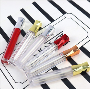 Wholesale pump lips resale online - 5ML Liquid Lip Gloss Tube Empty DIY Handwork Lipstick Lips Tubes Cosmetic Containers Bottles with Gold Silver Lid