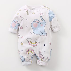 Wholesale baby clothes elephants boys for sale - Group buy Baby Boys Girls Long Sleeve Cartoon Print Romper Infant Elephant Pattern Jumpsuit Costume Newborn Toddler Keep Warm Clothes C0126