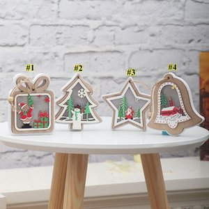 Wholesale wooden light design resale online - Christmas Lighted Wooden Pendant Christmas Tree Bell Gift Star Design Hanging Pendant Merry Xmas Tree Hanging Ornament FWB2692