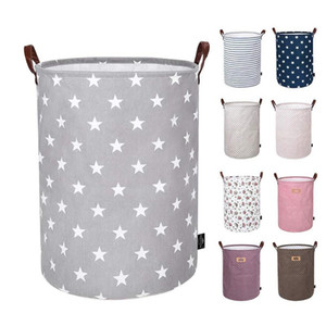 Wholesale canvas storage buckets for sale - Group buy Foldable Storage Basket Kids Toys Storage Bags Bins Printed Sundry Bucket Canvas Handbags Clothing Organizer Tote FFC16