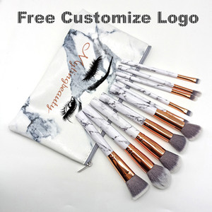 Wholesale makeup brushes sale free shipping for sale - Group buy Newest Hot Sale Marble Makeup Brush Professional MakeUp Brushes Foundation BB Cream Hiqh Quality With PU Bucket
