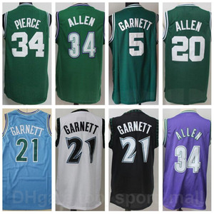 Wholesale blue rays resale online - Men Basketball Kevin Garnett Jersey Ray Allen Jesus Shuttlesworth Paul Pierce Stitched Blue White Green Black Purple Good Quality