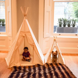 Wholesale cotton play tent resale online - Teepee Tent for Kids Foldable Children Play Tents for Girls and Boys Cotton Canvas Playhouse Toys Indoor and Outdoor1