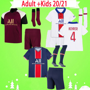 Wholesale waterproof socks resale online - Adult Kids kit with socks Soccer Jerseys Paris VERRATTI CAVANI MBAPPE child suit football Shirts DI MARIA boys set