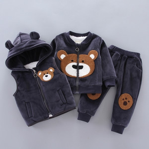 Wholesale baby clothes bear suit resale online - Baby Boys Girls Clothing Set Winter Fleece Children Cartoon Bear Hoodie Outerwear Outfits Kids Toddler Warm Costume Suit