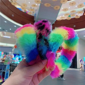 Wholesale fuzzy hair resale online - Women Plush Fuzzy Headbands Gilrs Fur Hairbands Rainbow Color Hair Bands Hair Accessories Winter Chirstmas Party Jewelry Headband E122103