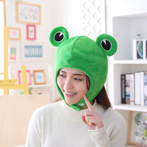 Wholesale cosplay eyes resale online - Novelty Funny Big Frog Eyes Cute Cartoon Plush Hat Toy Green Full Headgear Cap Cosplay Costume Party Dress Up Photo Prop