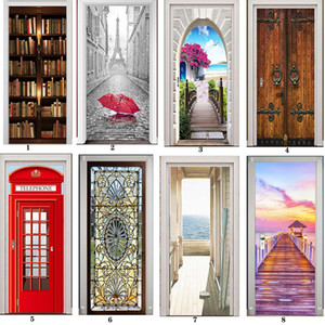 Wholesale wallpaper door murals for sale - Group buy PVC Mural Paper Print Art D Bookshelf Tower Sea Door Stickers Home Decor Picture Self Adhesive Waterproof Wallpaper For Bedroom T200330