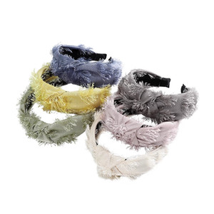 Wholesale tassel headbands for women for sale - Group buy Retro Tassel Hair Hoop for Women Vintage New Knotted Hairband Knot Plush Headband Hair Accessories Hair Jewelry