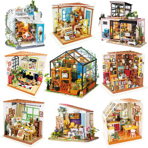 Wholesale diy dollhouse kits for sale - Group buy Robotime Wooden Dollhouse Kits DIY Miniature Doll House Furniture Toys for Children Birthday Gifts Best Collection LJ201126