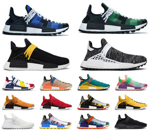 deportes desnudos al por mayor-Pharrell Races Human Womens Trainers Desnudo NMD Hue Sneakers Glow Williams Orange Madre R1 Gris Correr Plaid Deportes para hombre Zapatos