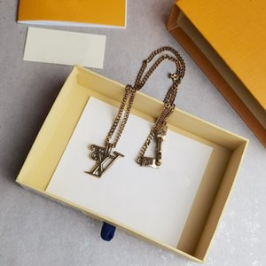 Wholesale age gold for sale - Group buy Europe America New Style Men Aged Gold colour Hardware Squared V Initials Gold Chain Necklace Pendant MP2692