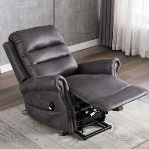 Wholesale leather recliners resale online - US STOCK Electric Power Lift Recliner Chair for Elderly Classic Single Sofa Reclining Chair with Nailhead Trim W50123868
