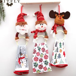 Wholesale hanging bathroom for sale - Group buy BITFLY Christmas decoration Towel ring Santa Claus Elk wall hanging ring racks holder New year bathroom kitchen decorations