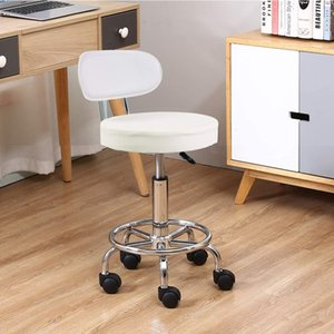 Wholesale computers chairs for sale - Group buy Leather Rolling Stool Mid Back with Footrest Height PU Adjustable Office Computer Medical Home Drafting Swivel Task Chair w Wheels White