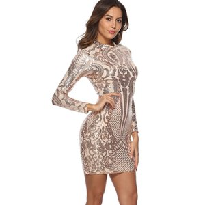 Wholesale champagne above knee dresses for sale - Group buy Sexy Sequined Dress Spring Cotton Print Stand Neck Slim Long Sleeve Above Knee Mini Pencil Dress Women s Sexy Nightclub Style