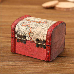 Wholesale chinese wooden jewelry for sale - Group buy Vintage Jewelry Box Mini Wood World Map Pattern Metal Container Organizer Storage Case Handmade Wooden Small Boxes PPD4044