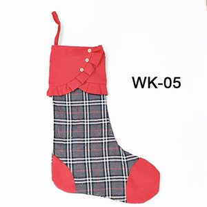 Wholesale apple sock resale online - Canvas Christmas Socks High Quality Santa Bag For Stocking Candy Apple Xmas Stocking Party Festival Supplies OOE2711